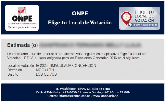 ONPE ya empezó a confirmar los cambios de local de votación para Elecciones 2016